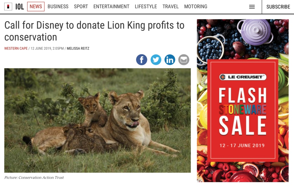 Call for Disney to donate Lion King profits to conservation - For